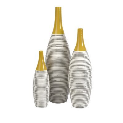 IMAX Andean Multi Glaze Vases (Set of 3)