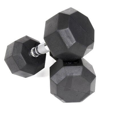 50 lbs Rubber Encased Octagonal Dumbbells with Deluxe 2 Tier Dumbbell Rack