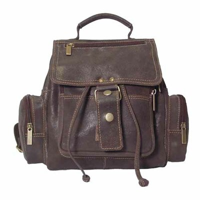 David King Mid-Size Top Handle Backpack in Distressed Leather