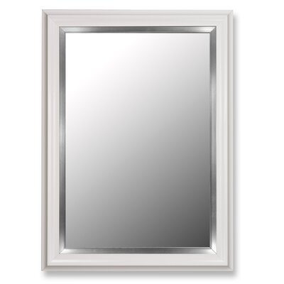 Hitchcock Butterfield Company Glossy White Petite / Stainless Liner Framed Wall Mirror