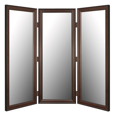 Room Divider Mirror in Traditional Mahogany Black