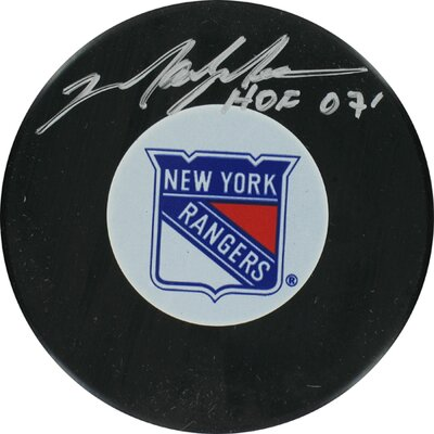 "Steiner Sports Mark Messier Rangers Autograph Puck with ""HOF"" Inscription"
