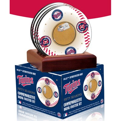 Minnesota Twins 50th Anniversary Coasters with Game Field Dirt (Set of 4)