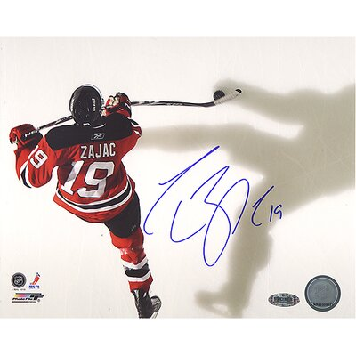 Steiner Sports Travis Zajac Devils Red Jersey Overhead Horizontal Photo