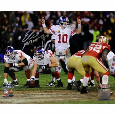 Eli Manning Signed 2012 NFC Championship Game at Line Horizontal Photograph