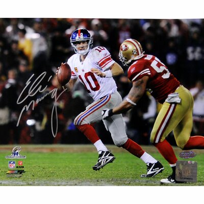 Eli Manning Signed 2012 NFC Championship Game Running Horizontal Photograph