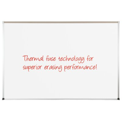 "CommClad 48"" x 72"" Thermal-Fused Melamine Dot Grid Whiteboard with Aluminum Trim and Map Rail"