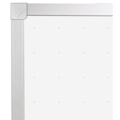 "CommClad 36"" x 48"" Thermal-Fused Melamine Dot Grid Whiteboard with Aluminum Trim"