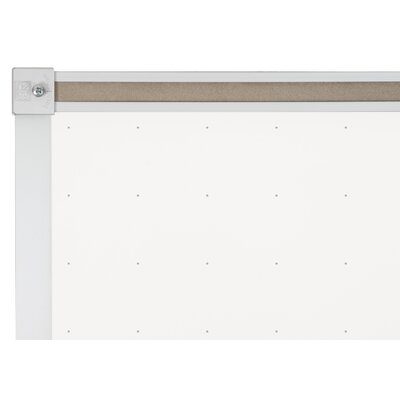 "CommClad 24"" x 36"" Thermal-Fused Melamine Dot Grid Whiteboard with Aluminum Trim and Map Rail"