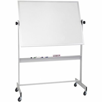 "CommClad 20"" x 40"" Thermal-Fused Melamine Deluxe Reversible Whiteboard in Aluminum"