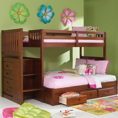 Discovery World Furniture Weston Twin over Full Staircase Bunk Bed with Optional Storage