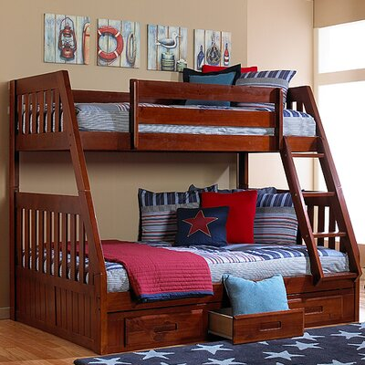 Discovery World Furniture Weston Twin over Full Bunk Bed with Built-In Ladder