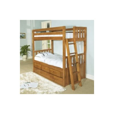 Discovery World Furniture Convertible Twin over Twin Three Drawer Bunk Bed with Trundle Bed