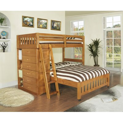 Discovery World Furniture DWF1154Weston Twin over Full L-Shaped Bunk Bed with Bookshelves and Storage