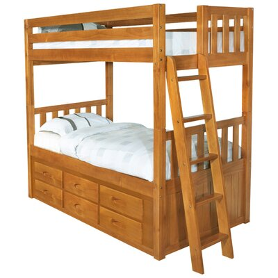Discovery World Furniture Convertible Twin over Twin Six Drawer Bunk Bed