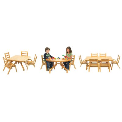 """Angeles NaturalWood 12"""" Square Toddler Table And Chair Set"""