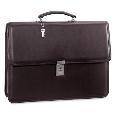 Platinum Single Gusset Flap Briefcase with Combination Lock