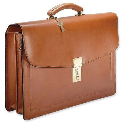 Jack Georges Belting Double Gusset Flap Over Briefcase with Combination Lock