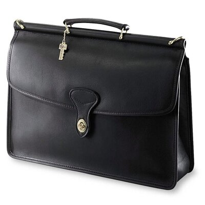 Jack Georges University Single Gusset Turn Leather Briefcase