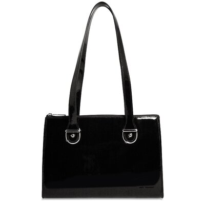 Jack Georges Patent Leather Top-Zip Shoulder Handbag