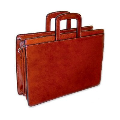 Jack Georges Sienna Triple Gusset Leather Briefcase