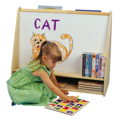 ECR4kids Two Sided Pic A Book Stand with Dry Erase Board and Storage Cubbie