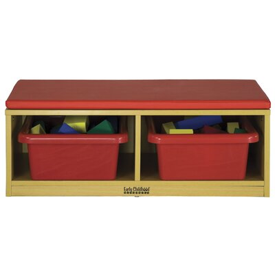 ECR4kids Straight Bench Reading Sectional 4 Compartment Cubby