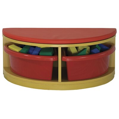 ECR4kids Half Circle Bench Reading Sectional 4 Compartment Cubby