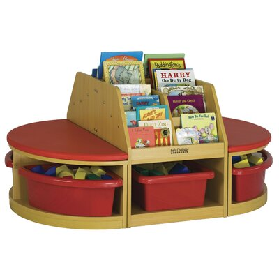 ECR4kids Four Piece Reading Sectional 6 Compartment Cubby
