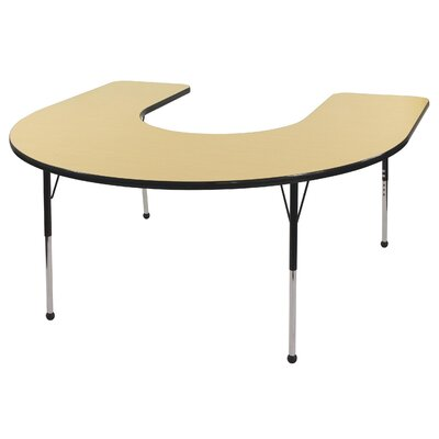 ECR4kids 60&quot; x 66&quot; Horseshoe Shaped Adjustable Activity Table in Maple
