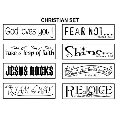 ECR4kids 8 Piece Self-Inking Christian Stamps with Stand