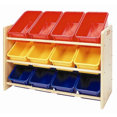 ECR4kids 3-Tier Wood Rack w/12 Assorted Color Bins &amp; Lids