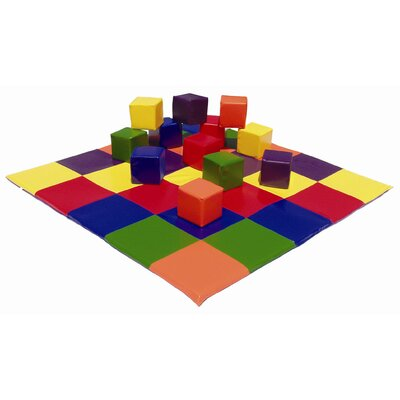 ECR4kids Patchwork Mat &amp; Toddler Blocks Set in Primary Colors