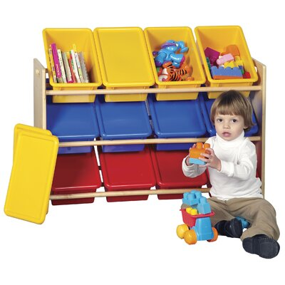 ECR4kids 3-Tier Wood Rack w/12 Assorted Color Bins & Lids