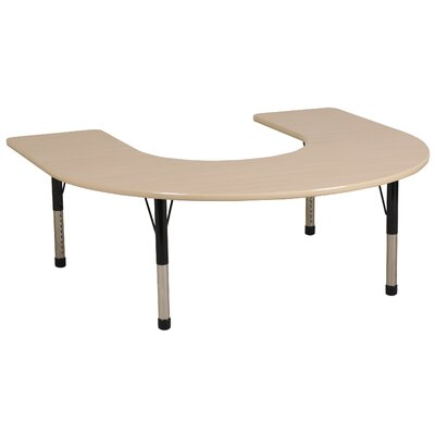 "ECR4kids 60"" x 66"" Horseshoe Shaped Adjustable Activity Table in Maple"