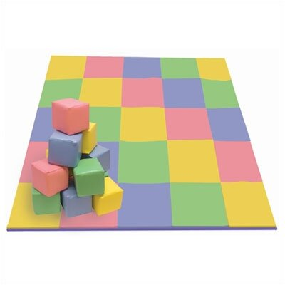 ECR4kids Patchwork Mat & Toddler Blocks Set in Pastel Colors