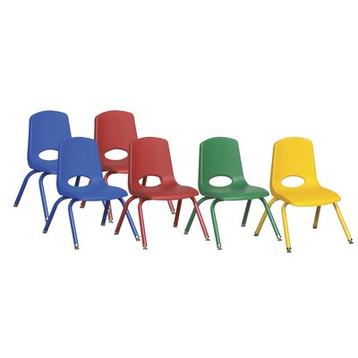 "ECR4kids 12"" Plastic Stack Chair with Matching Painted Legs (Set of 6)"