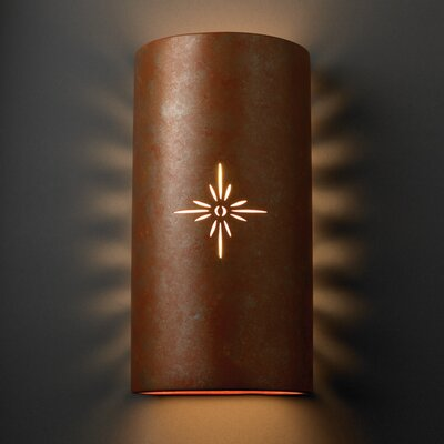 Justice Design Group Sun Dagger Open Top and Bottom Big Cylinder 2 Light Wall Sconce