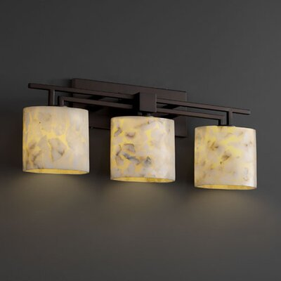 Justice Design Group Alabaster Rocks Aero 3 Light Bath Vanity Light