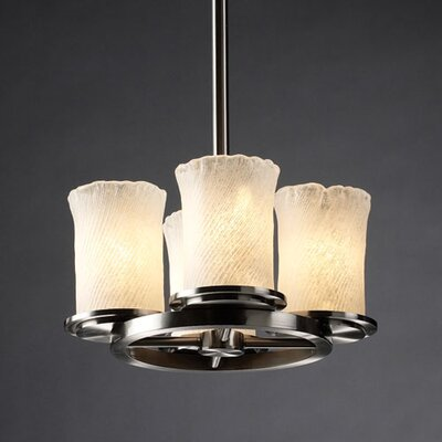 Justice Design Group Veneto Luce Dakota 4 Light Chandelier with Additional Chain