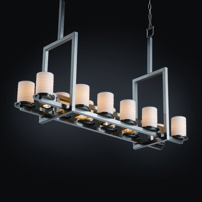 Justice Design Group Dakota Limoges 12-Up and 5-Down Light Tall Bridge Chandelier