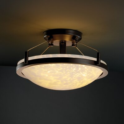 Justice Design Group Fusion 3 Light Round Semi Flush Bowl