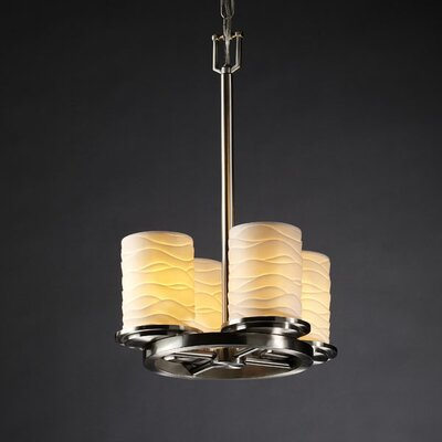 Justice Design Group Limoges Dakota 4 Light Chandelier with Additional Chain