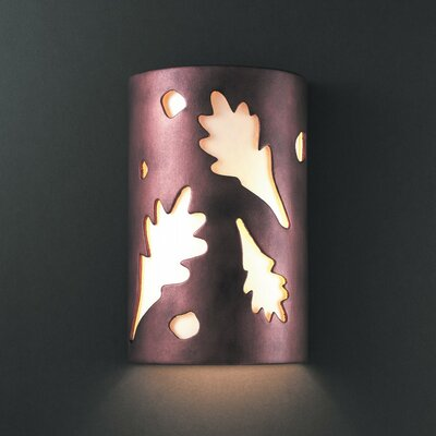 Justice Design Group Ambiance Oak Leaves 1 Light Outdoor Wall Sconce