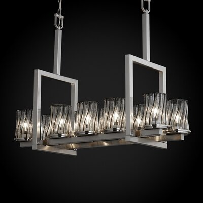 Justice Design Group Wire Glass Dakota 10 Light Bridge Chandelier