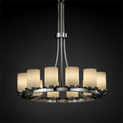 Justice Design Group Dakota Fusion 12 Light Tall Chandelier