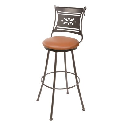 "Stone County Ironworks Bistro 25"" Swivel Bar Stool with Cushion"