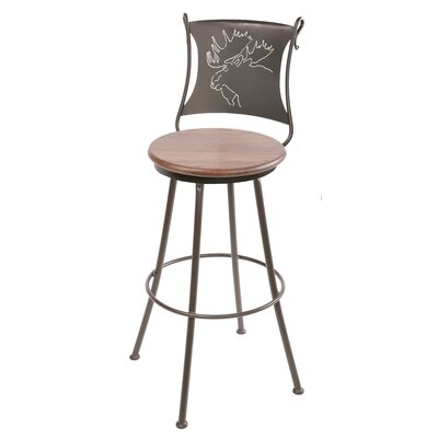 "Stone County Ironworks Bull Moose 25"" Swivel Counter Height Barstool in Oxblood Oak"