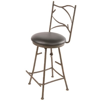 "Stone County Ironworks Pine Swivel 30"" Barstool with Black Seat"