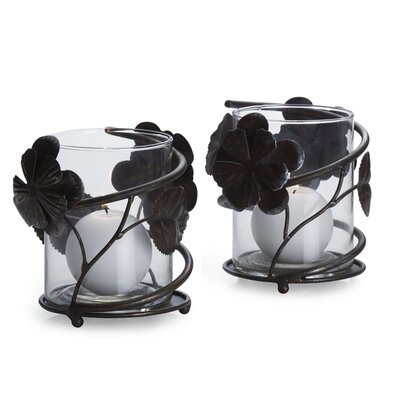 Mikasa Rustic Flowers Metal and Glass Votive